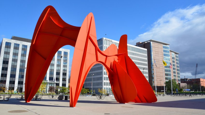 GRAND RAPIDS, MI / USA - OCTOBER 15, 2017: La Grande Vitesse, shown here, was funded by the Art in Public Places program of the National Endowment for the Arts as its first public art work.
