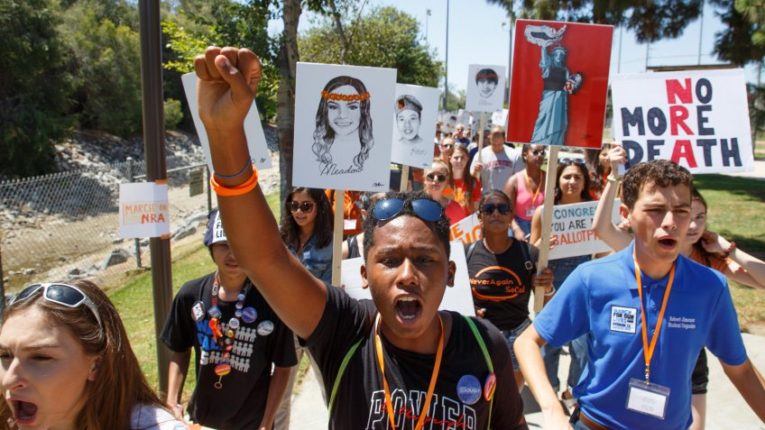 Mandatory Credit: Photo by EUGENE GARCIA/EPA-EFE/Shutterstock (9779908a)Students in support of gun control protest against the National Rifle Association (NRA) during a march in Brea, California, USA, 04 August 2018.