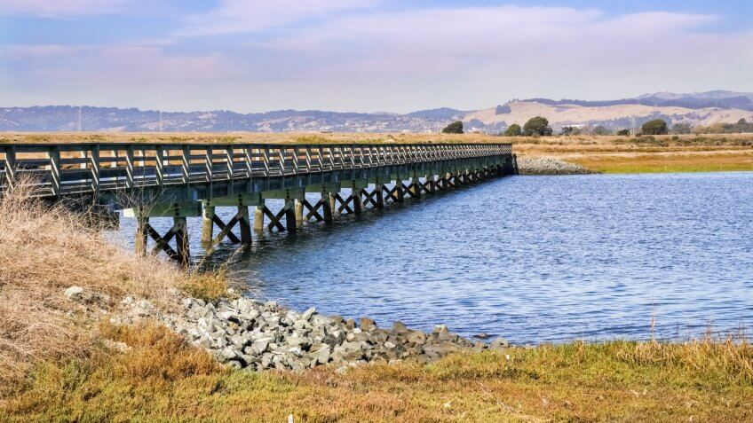 Bridge over the marshes of East San Francisco Bay, Hayward, California.
