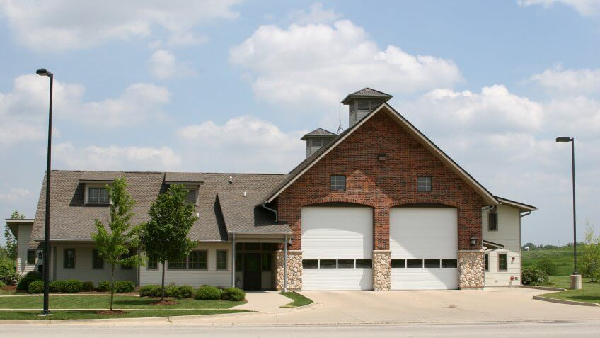 Nice looking suburban retirement community fire station in Huntley, Illinois - Image.