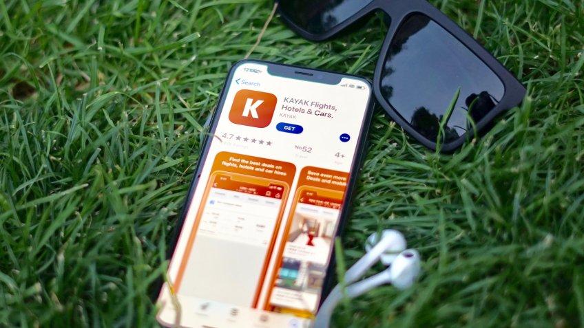 Kayak app on smartphone
