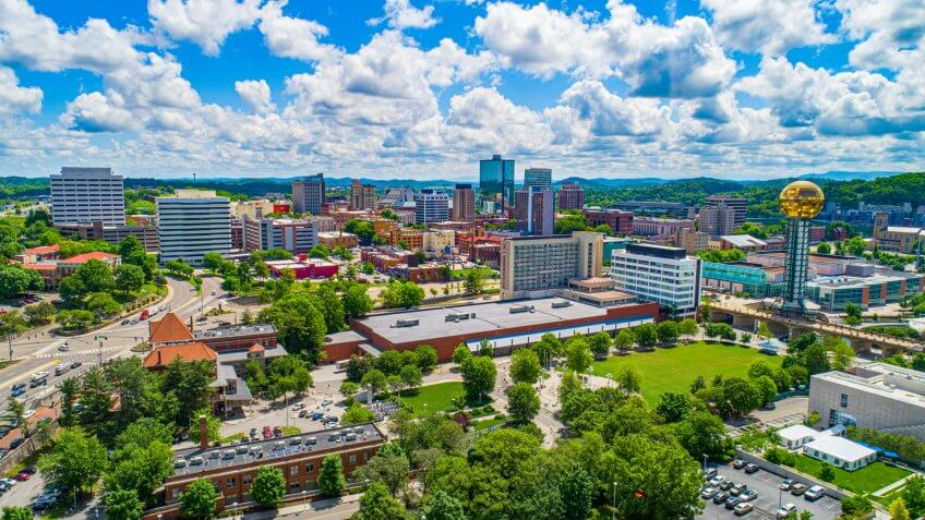 Downtown Knoxville Tennessee Skyline Aerial.