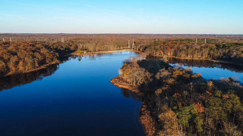 An aerial view of Lake Redington and the surrounding hiking trails of the Patuxent River in Laurel, Maryland.