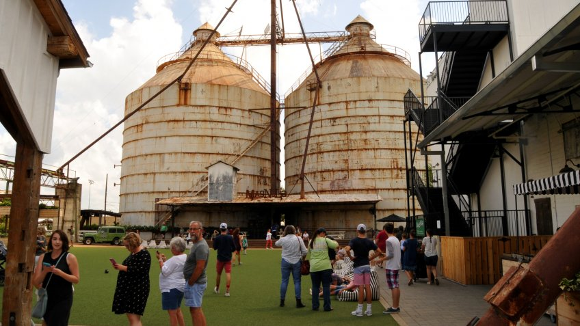 Waco, Texas - July 21, 2017: Magnolia Market Silos, built by Chip and Joanna Gaines the stars of television show Fixer Upper.