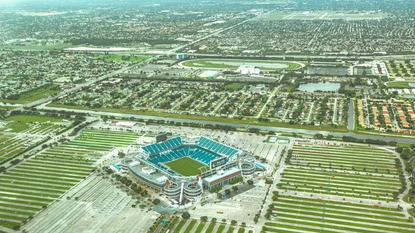 Miami, USA - August 14, 2015: Aerial view of the Sun Life Stadium in Florida, taken in a summer afeternoon.