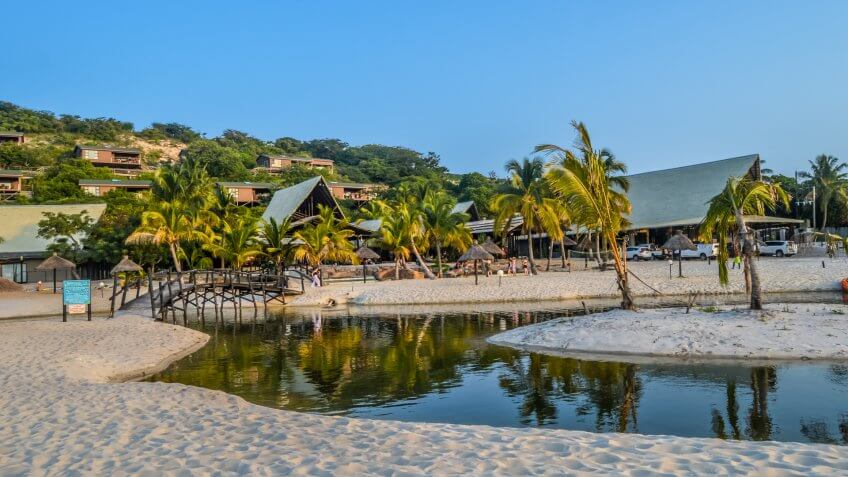 Beautiful Bilene beach and lagoon near Maputo in Mozambique.