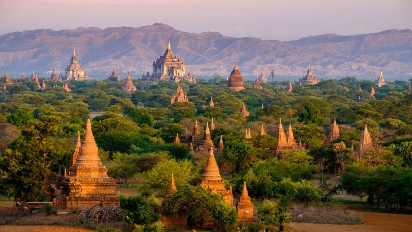 Sunrise landscape view with silhouettes of old temples, Bagan, Myanmar (Burma).