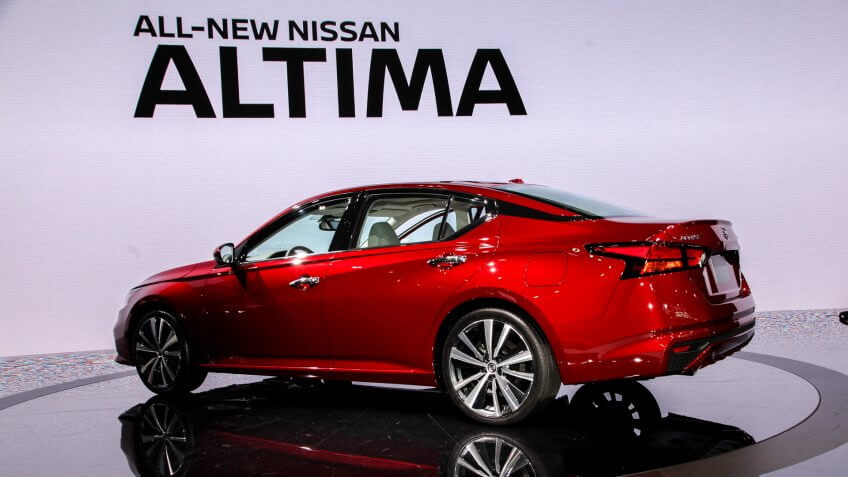 NEW YORK CITY-MARCH 28: Nissan Altima Platinum shown at the New York International Auto Show 2018, at the Jacob Javits Center.
