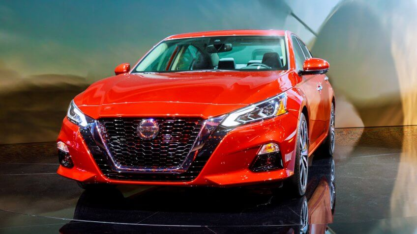 New York, NY USA - APRIL 20, 2019: Nissan Altima car on display New York International Auto Show at Jacob Javits Center - Image.