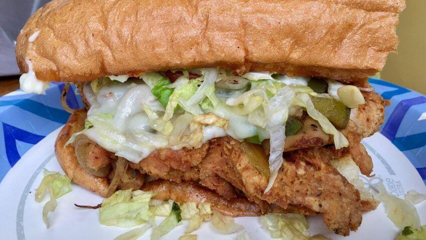 Nomad Deli Big Fried Chicken Sandwich.