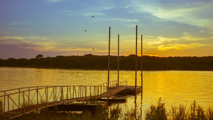 Golden sunset over the port at lake Thunderbird, Norman, Oklahoma - Image.