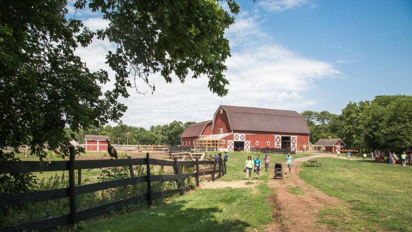 Northville, Michigan / USA - August 10, 2018: Children and families explore the interactive barns, animals, demonstrations and play structures at Maybury Farm on a summer day in Michigan.