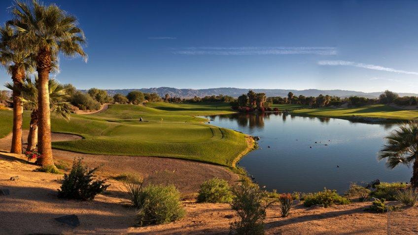 Dawn at a beautiful public golf course in Palm Desert California.