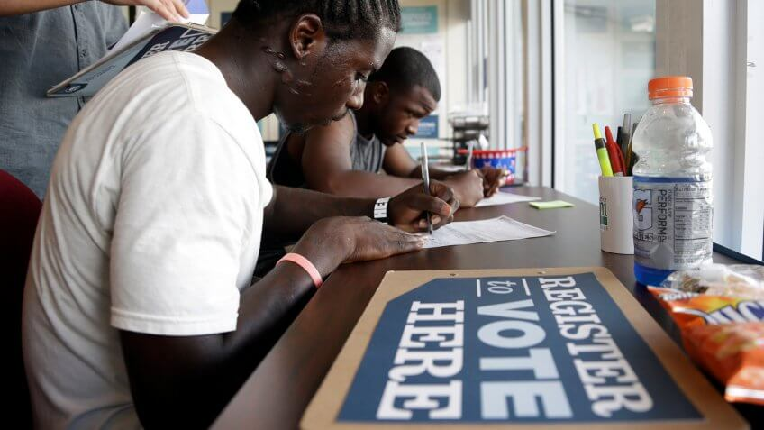People registering to vote in Miami in 2012