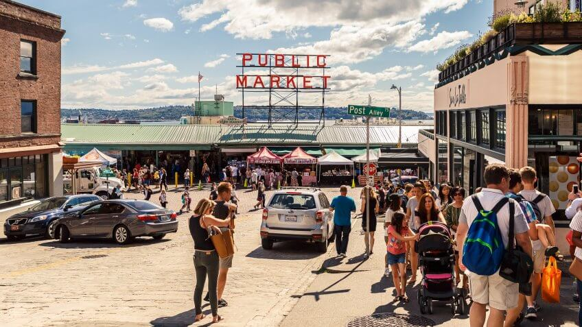 Seattle, Washington, USA - July 6, 2018: Pike Place Market or Public Market Center in summer season, Seattle, Washington, USA.