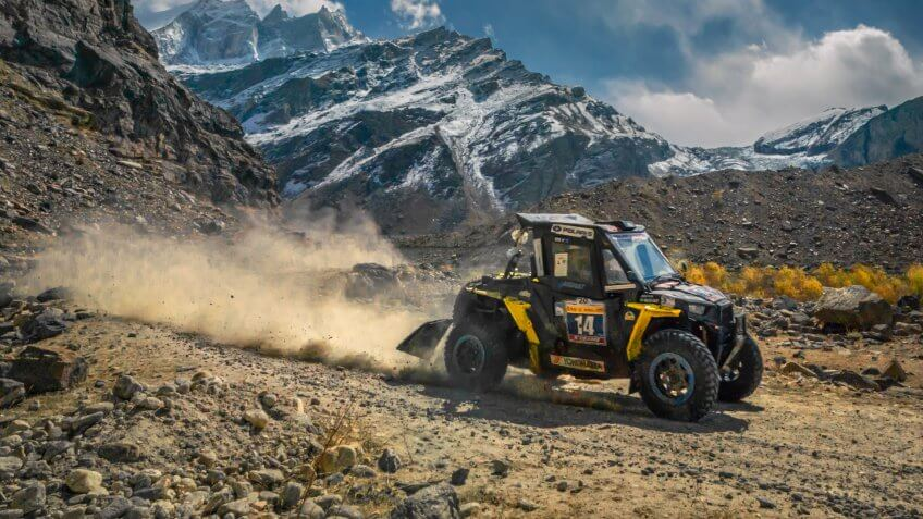 Suru Valley - A ATV - Polaris, Running in Car Rally (Raid De Himalaya 2018)-at Parkachik Glacier, Village Parkachik, Suru Valley, Ladakh, India.