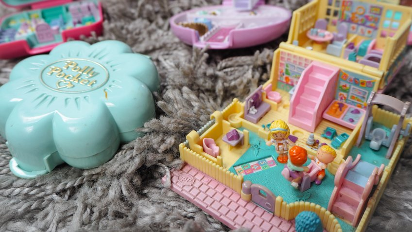 March 2019 - Belgium: Collection of Polly Pocket's, miniature dollhouses, that were very popular in the 90's and now are coveted collectables - Image.