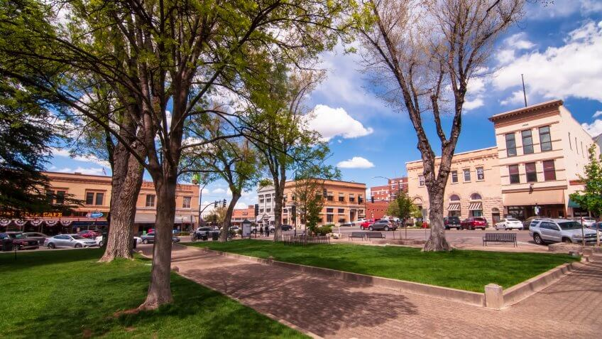 Prescott, Arizona, USA 04/22/2019 The Yavapai County Courthouse Square looking at the corner of Gurley and Montezuma Streets on a sunny spring day.
