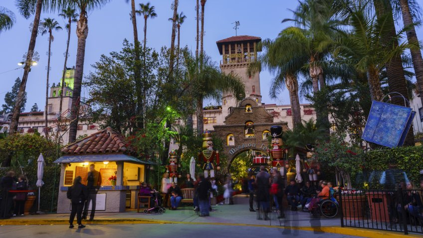 Riverside, DEC 10: Exterior main entrance of the Historical Mission Inn during twilight, christmas on DEC 10, 2016 at Riverside, California - Image.