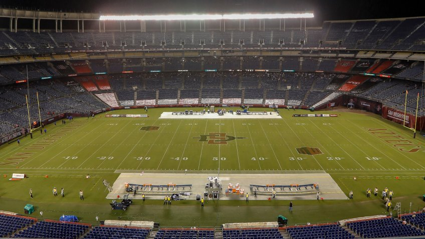 Mandatory Credit: Photo by Michael Cazares/CSM/Shutterstock (9930792k)Weather delay between Air Force Falcons and San Diego State Aztecs.