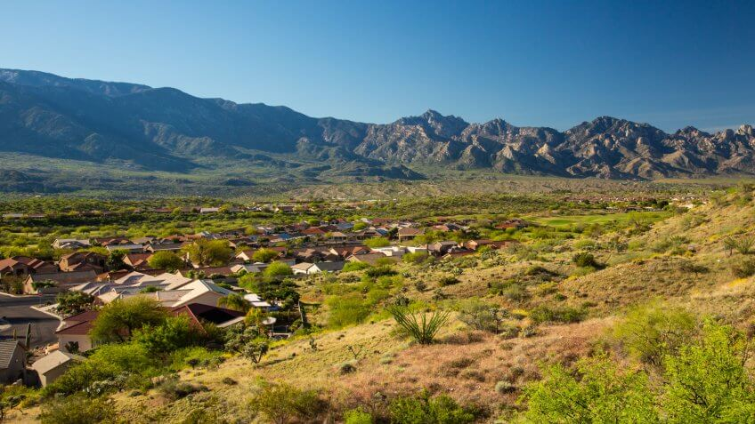 A high angle view of the town of Saddlebrook, Arizona and the Snta catalina mountains, near Tucson - Image.