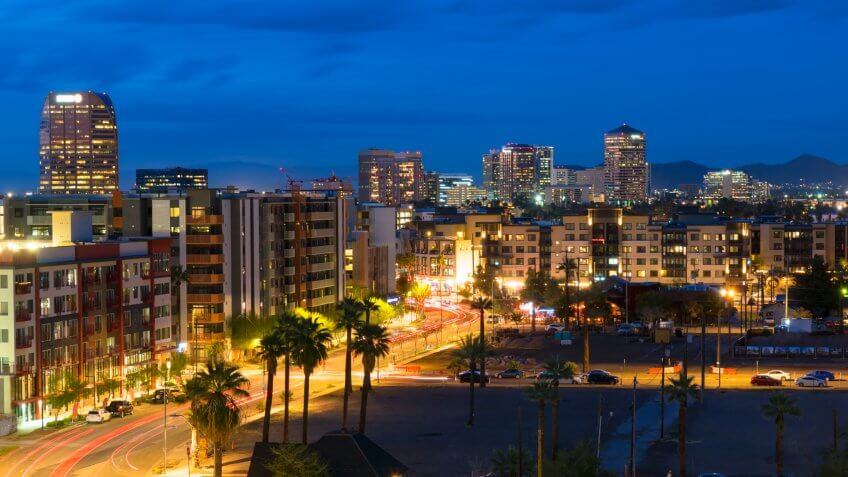 The skyline of Scottsdale, Arizona, in evening light.