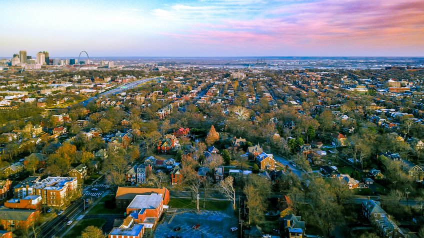 Sunset over the Soulard neighborhood in Saint Louis, Missouri - Image.