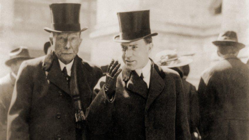 Standard Oil founder John D Rockefeller with son John D Rockefeller