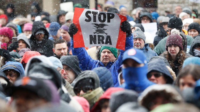 """Mandatory Credit: Photo by John Minchillo/AP/Shutterstock (9475377e)A demonstrator holds a """"STOP the NRA"""" sign outside city hall during the """"March for Our Lives"""" protest for gun legislation and school safety, in Cincinnati."""