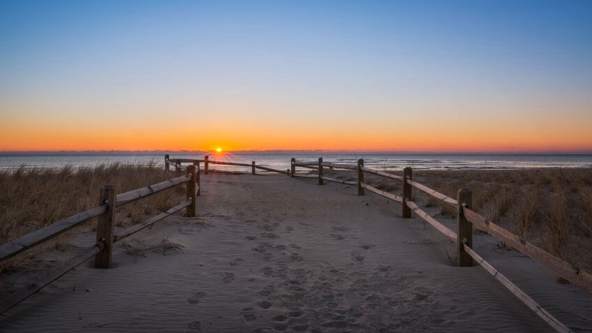 Early morning sunburst at Strathmere Beach in New Jersey.