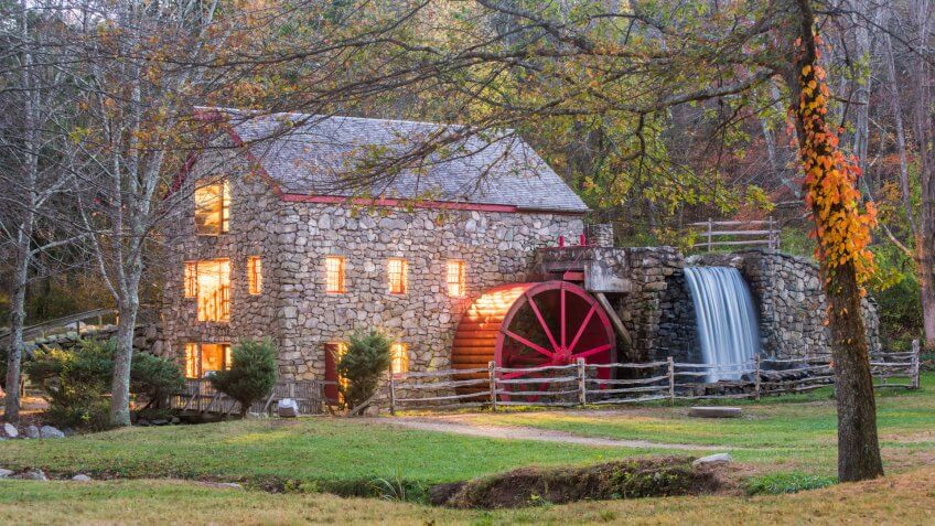 old mill at night in the fall - Image.