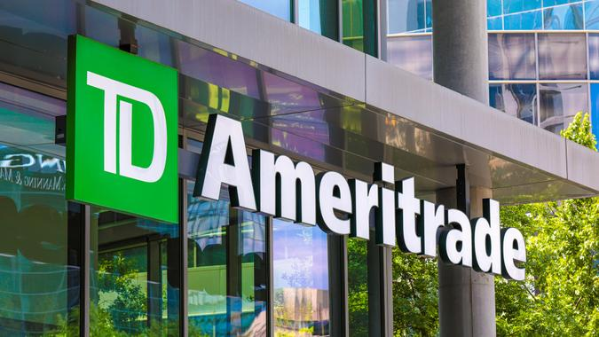Atlanta, Georgia  USA - 16 May 2019: A logo of TD Ameritrade - a broker that offers an electronic trading platform for the trade of financial assets - Image.