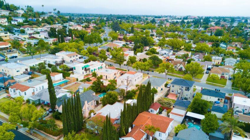 An aerial shot of a neighborhood.