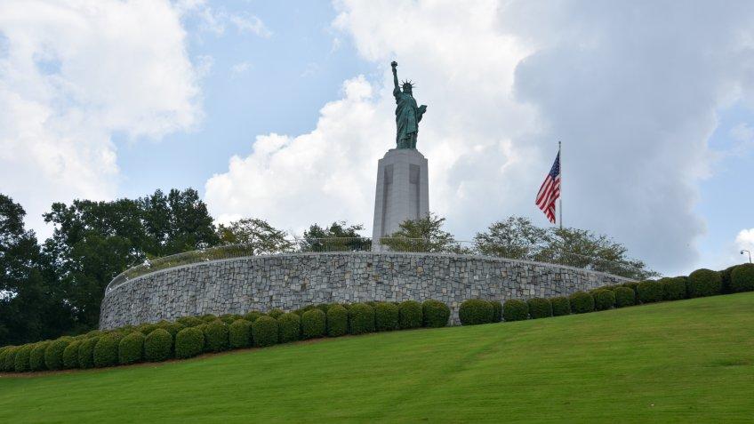 VESTAVIA HILLS, ALABAMA - JUL 24: Statue of Liberty replica at Liberty Park in Vestavia Hills, Alabama, on July 24, 2017.