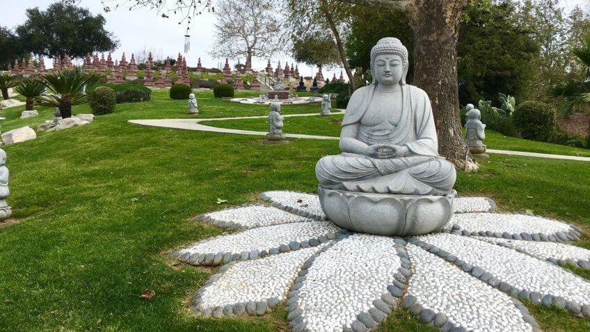 Whittier, California/USA April 1, 2018 Fo Guang Shan Buddhist Memorial Columbarium at Rose Hills Memorial Park - Image.