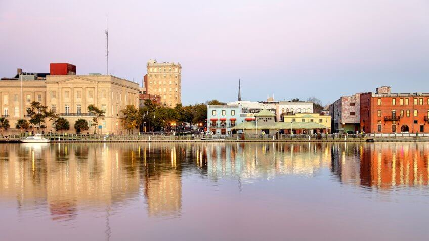 Downtown Wilmington along the banks of the Cape Fear River.