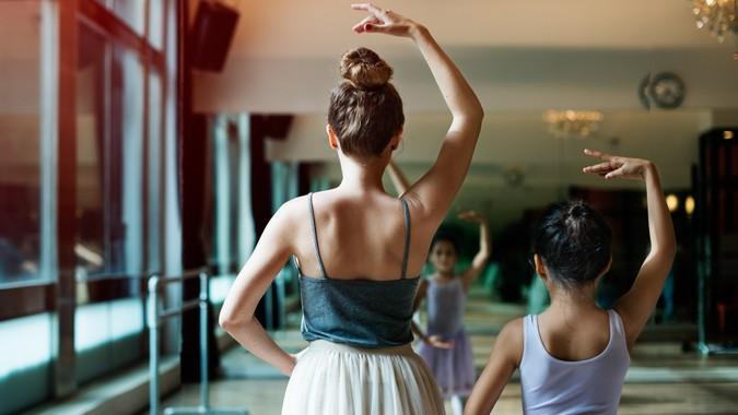 Ballet Dancer Training School Concept.
