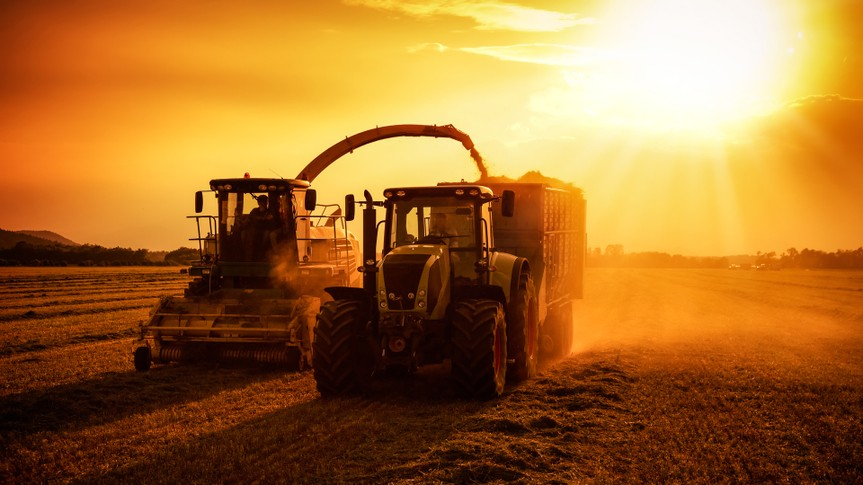 agriculture machinery on work.