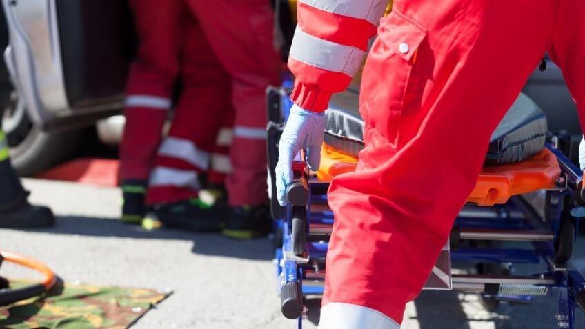Paramedics in a rescue operation after a car crash.