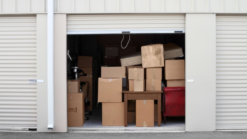Warehouse building with self storage units.