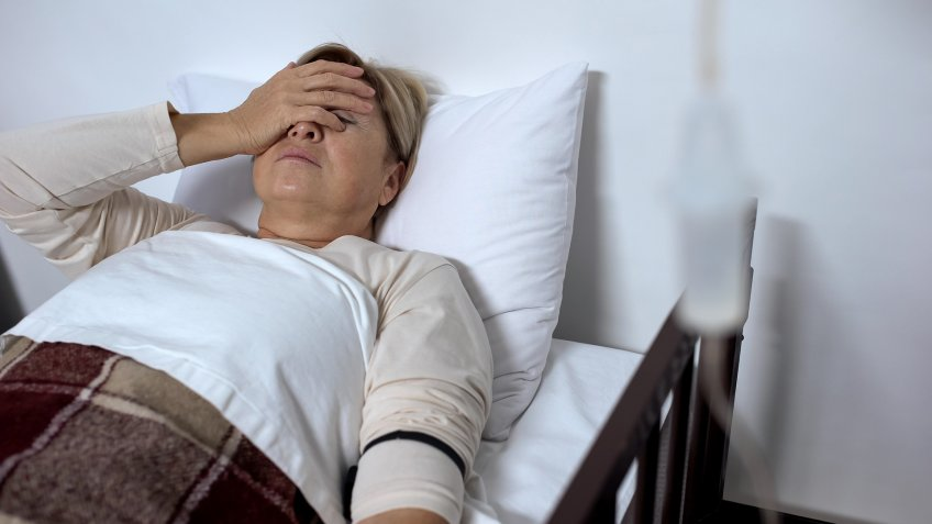 sick woman in hospital