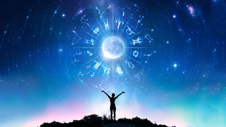 Woman Consulting The Stars - Zodiac Signs In The Sky - Contain Illustration And elements furnished by NASA.