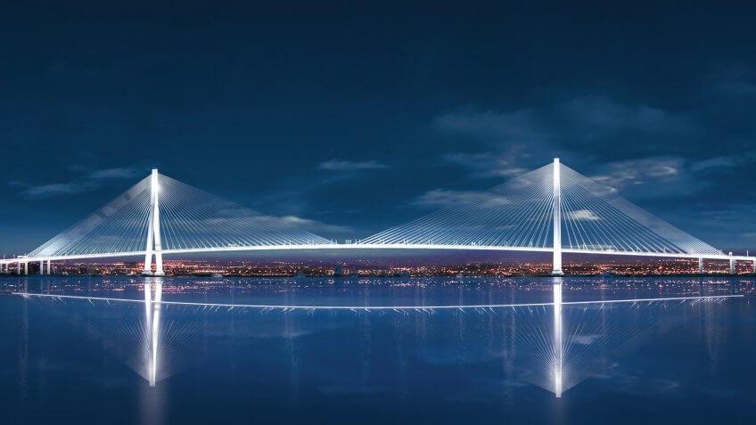 Gordie Howe International Bridge - Night View