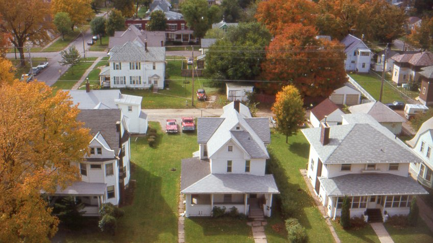 Aerial view of small town Iowa, USA.