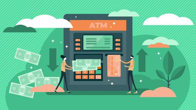 ATM cash machine vector illustration.