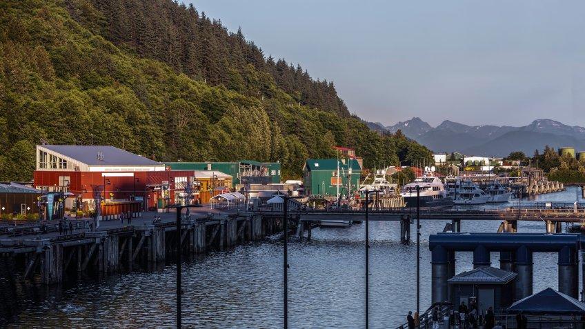 Beautiful view along the dock at Anchorage, Alaska - Image.