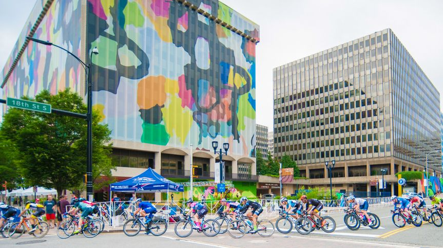 ARLINGTON JUNE 10: Cyclists compete in the elite men's race at the Armed Forces Cycling Classic on June 10, 2018 in Arlington, VA - Image.
