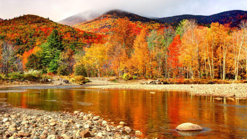 Peak autumn foliage in the Adirondacks region of New York.