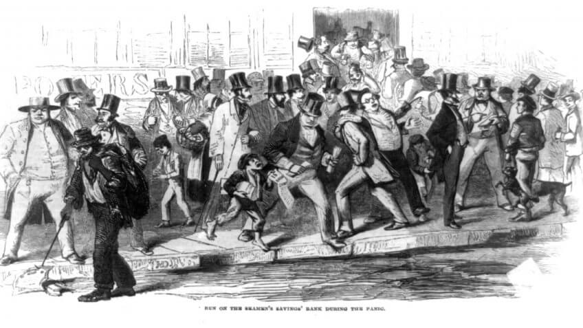 Bank run on the Seamen's Savings' Bank during the Panic of 1857 illustration