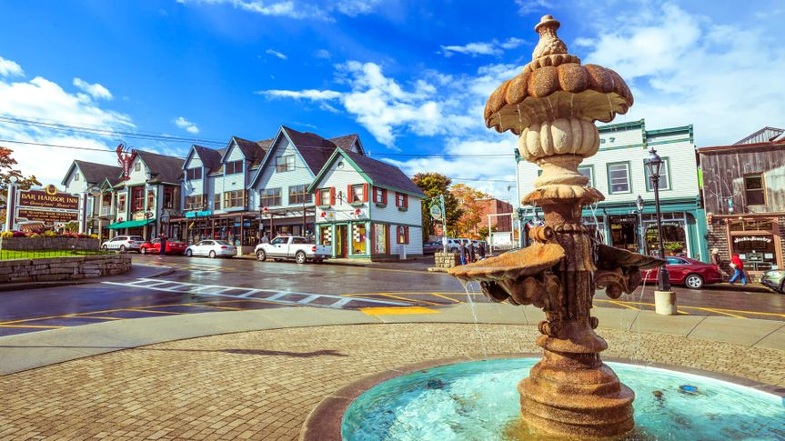 BAR HARBOR-OCT 17: Bar Harbor architecture in downtown near Frenchman Bay in Maine, USA on October 17, 2015.